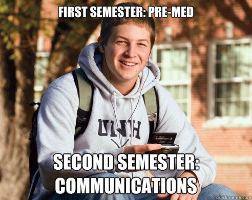 First Semester: Pre-med Second Semester: Communications - First Semester: Pre-med Second Semester: Communications  College Freshman