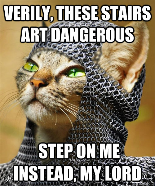 Verily, these stairs art dangerous  Step on me instead, my lord