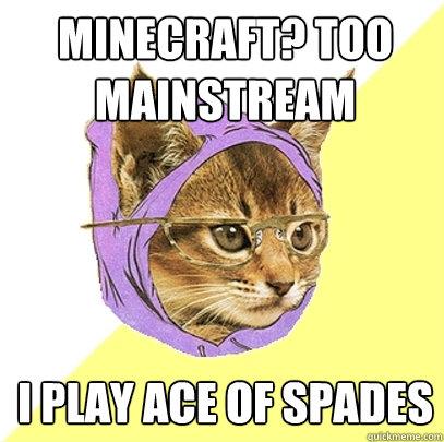 Minecraft? Too mainstream I play ace of spades - Minecraft? Too mainstream I play ace of spades  Hipster Kitty