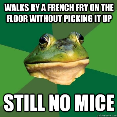 Walks by a french fry on the floor without picking it up still no mice - Walks by a french fry on the floor without picking it up still no mice  Foul Bachelor Frog