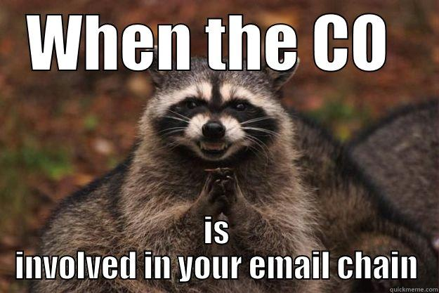 email jokes - WHEN THE CO  IS INVOLVED IN YOUR EMAIL CHAIN Evil Plotting Raccoon