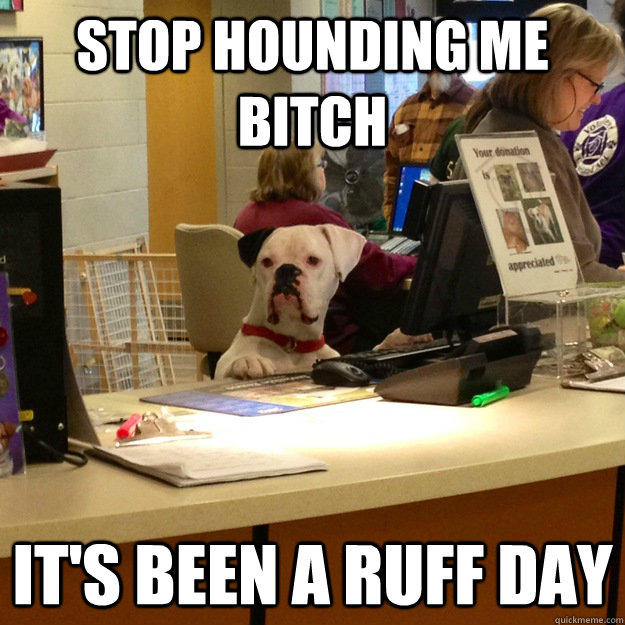 Stop hounding me bitch It's been a Ruff day