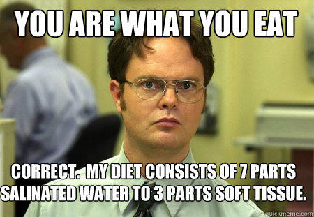You are what you eat Correct.  My diet consists of 7 parts salinated water to 3 parts soft tissue. - You are what you eat Correct.  My diet consists of 7 parts salinated water to 3 parts soft tissue.  Schrute