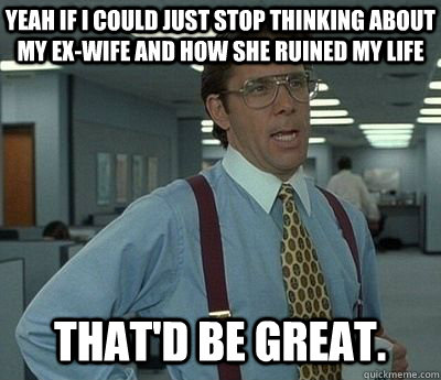 yeah if i could just stop thinking about my ex-wife and how she