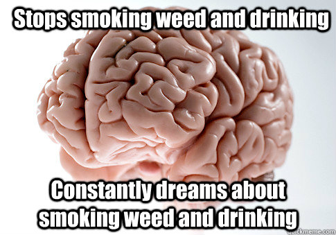 Stops smoking weed and drinking Constantly dreams about smoking weed and drinking - Stops smoking weed and drinking Constantly dreams about smoking weed and drinking  Scumbag Brain