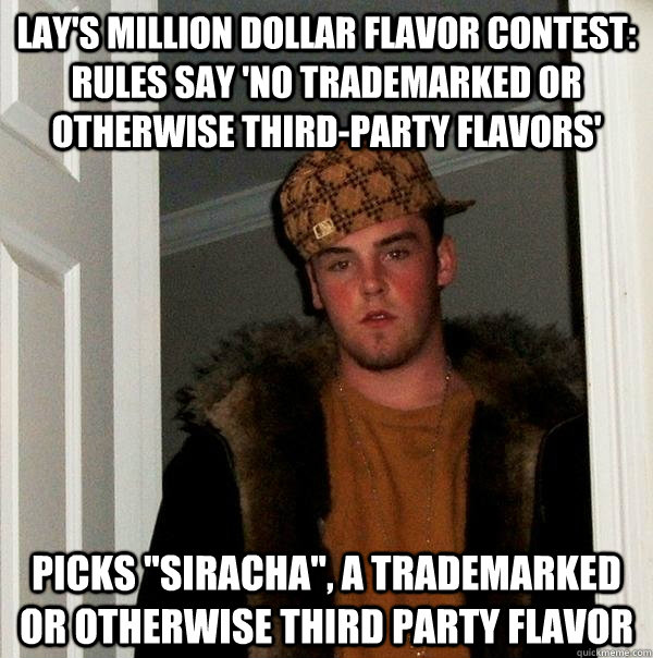 Lay's Million Dollar Flavor Contest:  Rules Say 'No Trademarked or Otherwise Third-Party Flavors' Picks