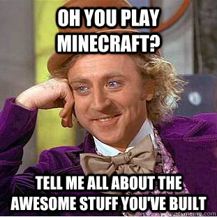 Oh you play minecraft? Tell me all about the awesome stuff you've built - Oh you play minecraft? Tell me all about the awesome stuff you've built  Condescending Wonka