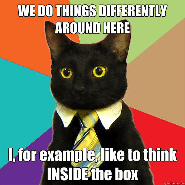 WE DO THINGS DIFFERENTLY AROUND HERE I, for example, like to think INSIDE the box - WE DO THINGS DIFFERENTLY AROUND HERE I, for example, like to think INSIDE the box  Business Cat