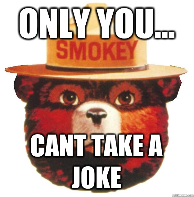 ONLY YOU... CANT TAKE A JOKE  Smokey the Bear Says