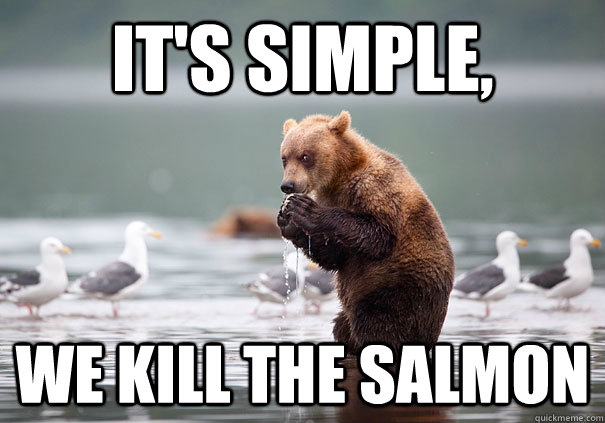 It's simple, we kill the salmon - It's simple, we kill the salmon  Evil Scheme Bear