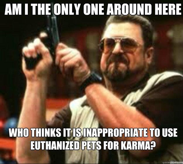 Am i the only one around here Who thinks it is inappropriate to use euthanized pets for Karma? - Am i the only one around here Who thinks it is inappropriate to use euthanized pets for Karma?  Angey Walter