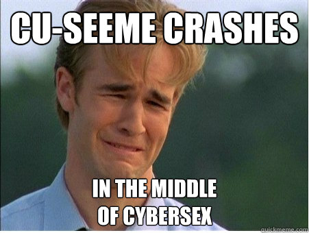 cu-seeme crashes in the middle of cybersex - cu-seeme crashes in the middle of cybersex  1990s Problems