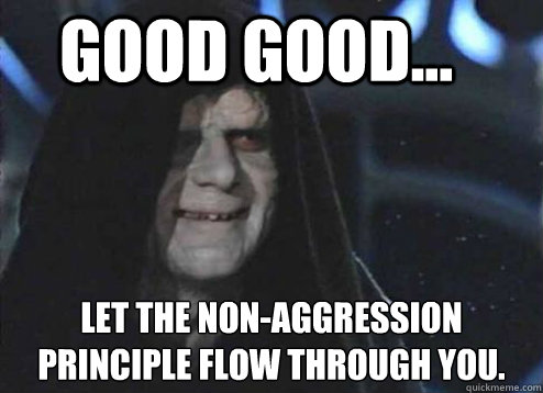 good good... Let the non-aggression principle flow through you. - good good... Let the non-aggression principle flow through you.  Let the hate flow through you