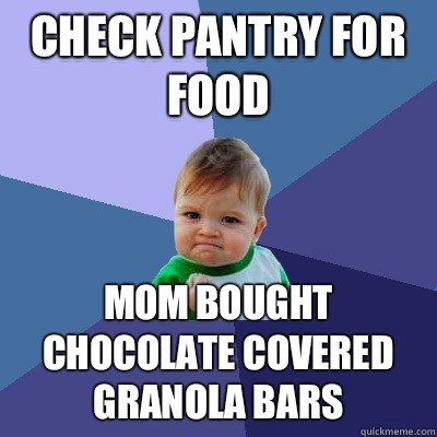 Check pantry for food Mom bought chocolate covered granola bars  Success Kid