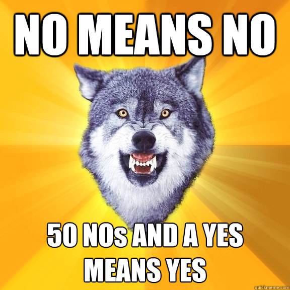 NO MEANS NO 50 NOs AND A YES MEANS YES - NO MEANS NO 50 NOs AND A YES MEANS YES  Courage Wolf