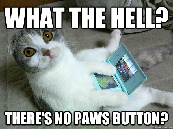 what the hell? there's no paws button? - what the hell? there's no paws button?  Gamer Kitten