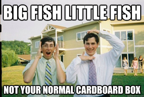 Big fish little fish not your normal cardboard box  Big fish little fish