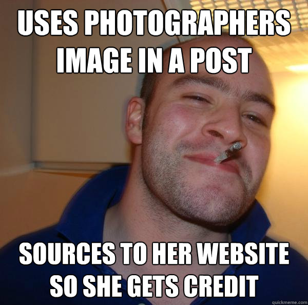 Uses photographers image in a post Sources to her website so she gets credit - Uses photographers image in a post Sources to her website so she gets credit  Misc