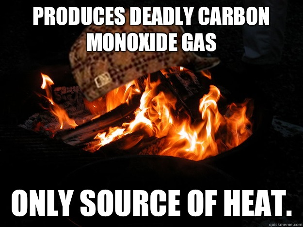 Produces deadly Carbon Monoxide Gas Only source of heat.