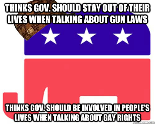 Thinks gov. should stay out of their lives when talking about gun laws Thinks gov. should be involved in people's lives when talking about gay rights