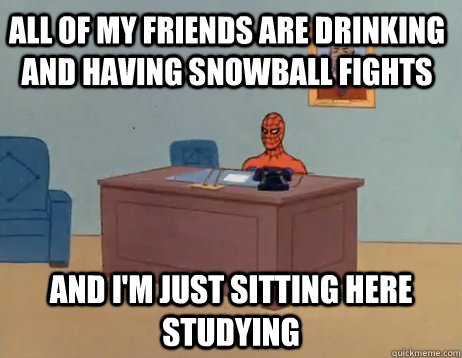 all of my friends are drinking and having snowball fights And I'm just sitting here studying - all of my friends are drinking and having snowball fights And I'm just sitting here studying  Misc