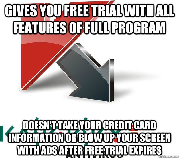 gives you free trial with all features of full program doesn