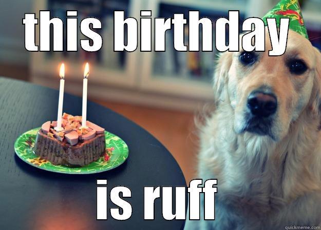THIS BIRTHDAY IS RUFF Sad Birthday Dog