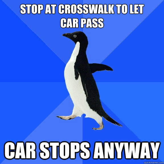 stop at crosswalk to let car pass Car stops anyway - stop at crosswalk to let car pass Car stops anyway  Socially Awkward Penguin