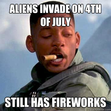Aliens invade on 4th of july still has fireworks