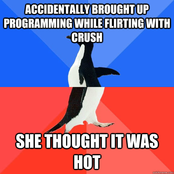 accidentally brought up programming while flirting with crush She thought it was hot - accidentally brought up programming while flirting with crush She thought it was hot  Socially Awkward Awesome Penguin