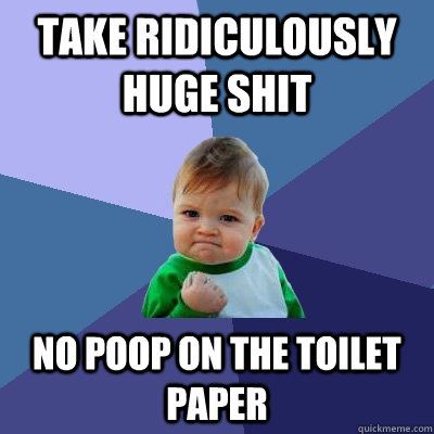 take ridiculously huge shit no poop on the toilet paper  Success Kid