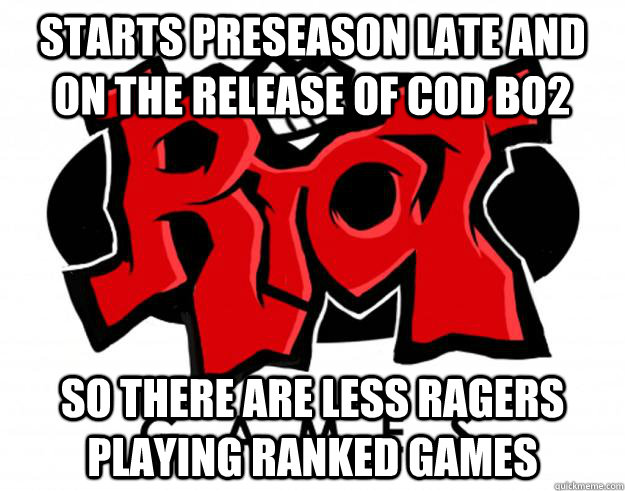 Starts preseason late and on the release of COD BO2 So there are less ragers playing ranked games - Starts preseason late and on the release of COD BO2 So there are less ragers playing ranked games  Misc