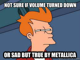 Not sure if volume turned down Or Sad But True by Metallica