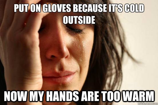 Put on gloves because it's cold outside Now my hands are too warm - Put on gloves because it's cold outside Now my hands are too warm  First World Problems