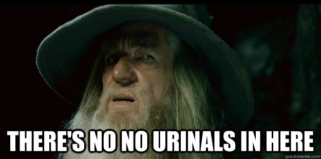 There's no no urinals in here -  There's no no urinals in here  I have no memory Gandalf