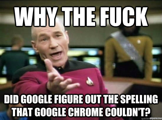 Why the fuck did Google figure out the spelling that Google Chrome couldn't? - Why the fuck did Google figure out the spelling that Google Chrome couldn't?  Annoyed Picard HD