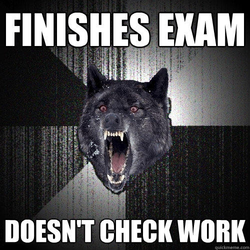 Finishes exam doesn't check work - Finishes exam doesn't check work  Insanity Wolf