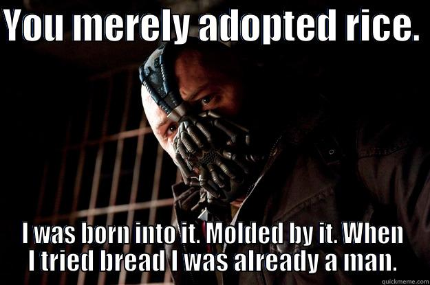 pc bane - YOU MERELY ADOPTED RICE.  I WAS BORN INTO IT. MOLDED BY IT. WHEN I TRIED BREAD I WAS ALREADY A MAN. Angry Bane