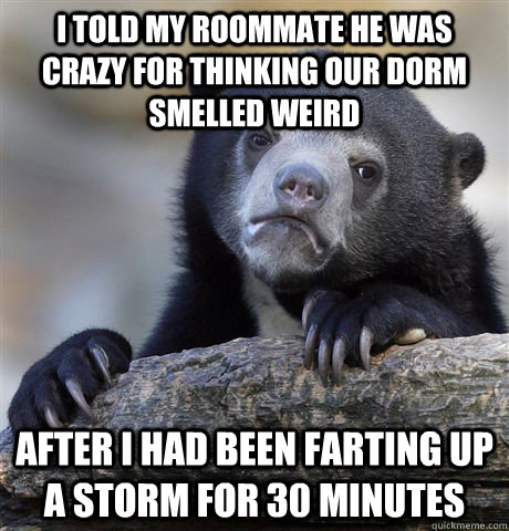 I told my roommate he was crazy for thinking our dorm smelled weird after I had been farting up a storm for 30 minutes - I told my roommate he was crazy for thinking our dorm smelled weird after I had been farting up a storm for 30 minutes  confessionbear