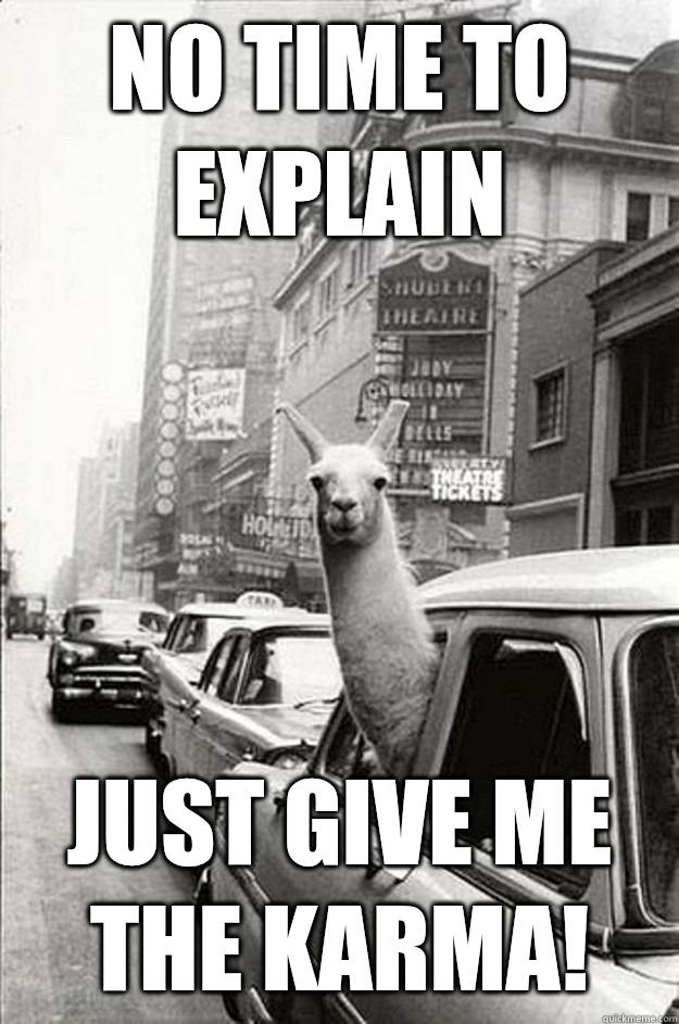 No time to explain Just give me the Karma! - No time to explain Just give me the Karma!  no time to explain