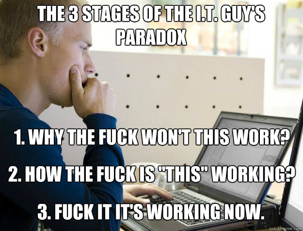 THE 3 STAGES OF THE I.T. GUY'S PARADOX  1. WHY THE FUCK WON'T THIS WORK? 2. HOW THE FUCK IS