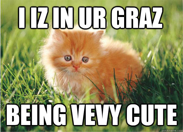 I iz in ur graz being vevy cute  cute cat meme lolcat