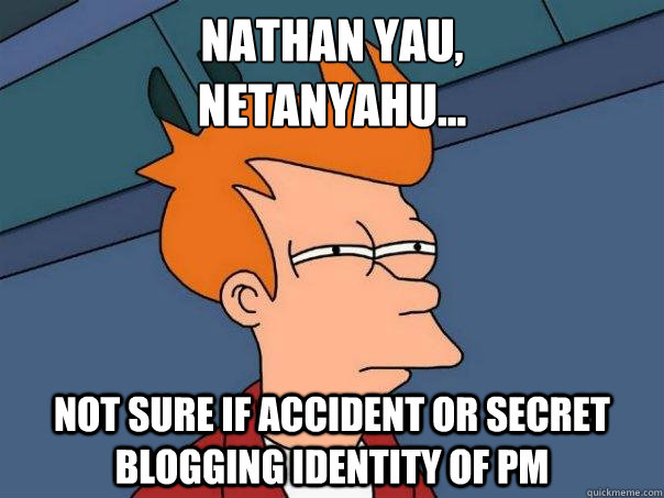 Nathan Yau, Netanyahu... Not sure if accident or secret blogging identity of PM - Nathan Yau, Netanyahu... Not sure if accident or secret blogging identity of PM  Futurama Fry
