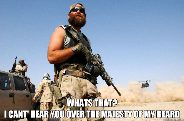 Whats that? I cant' hear you over the majesty of my beard  Special Forces Beard