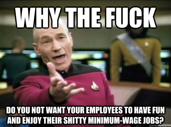 Why the fuck do you not want your employees to have fun and enjoy their shitty minimum-wage jobs? - Why the fuck do you not want your employees to have fun and enjoy their shitty minimum-wage jobs?  Annoyed Picard HD