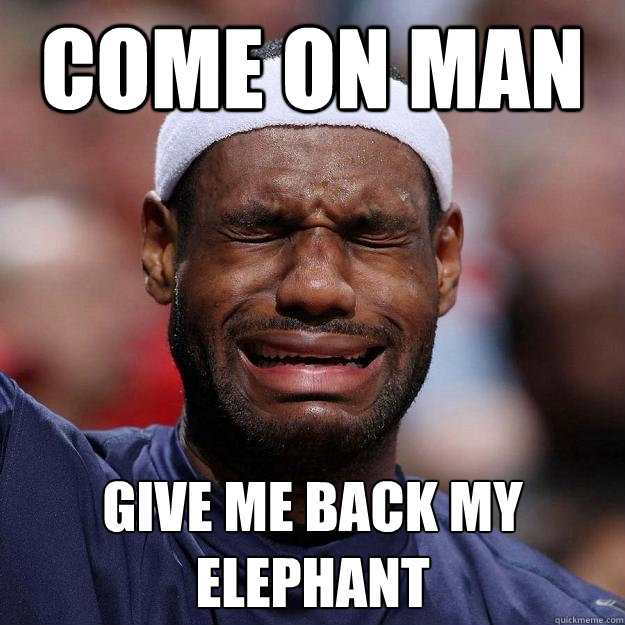 COME ON MAN GIVE ME BACK MY ELEPHANT  Lebron Crying