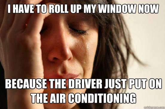 I have to roll up my window now because the driver just put on the air conditioning  Caption 3 goes here - I have to roll up my window now because the driver just put on the air conditioning  Caption 3 goes here  First World Problems