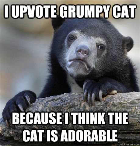 I Upvote grumpy cat because i think the cat is adorable - I Upvote grumpy cat because i think the cat is adorable  Confession Bear