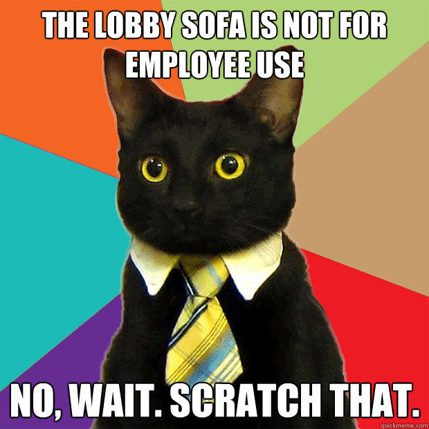 The Lobby Sofa Is Not For Employee Use No, wait. Scratch that. - The Lobby Sofa Is Not For Employee Use No, wait. Scratch that.  Business Cat