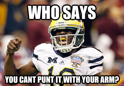 who says you cant punt it with your arm?